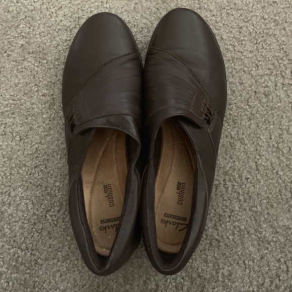 Clarks Cushion Sole Brown Slip On Shoes
